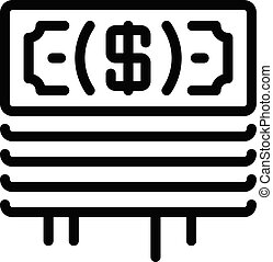 Stack of dollars icon, outline style - Stack of dollars icon...