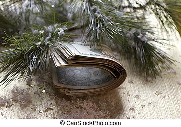 dollars on the Christmas tree