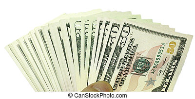 Stack of dollars USA isolated on the white background