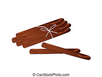 Stack of Dried Cinnamon Sticks on White Background -...