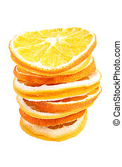 stack of dried fruit on white bacground (isolated, clipping path)