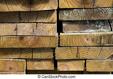 Stack of dried lumber