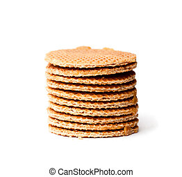 Stack  of Dutch caramel waffles isolated