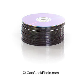 stack of dvds isolated on a white background
