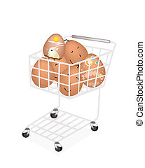 Stack of Easter Egg in Shopping Cart