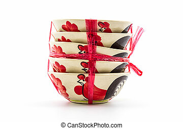 Stack of empty bowl. - Stack of empty bowl for sale tied...