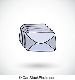 Stack of envelopes - hand-drawn cartoon mail icon. Doodle drawing.
