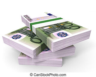Stack of EURO banknotes. One hundred. 3D illustration.
