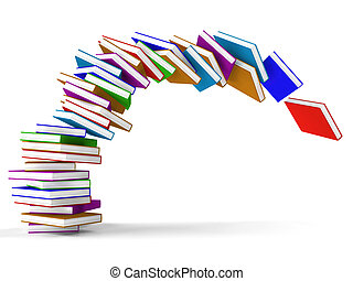 Stack Of Falling Books Represents Learning And Education