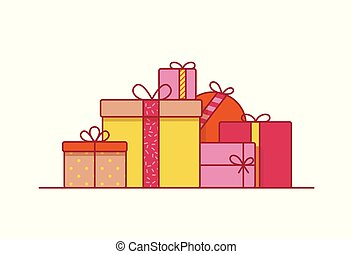 Stack of festive gift boxes wrapped in paper and decorated with ribbons and bows. Pile of packaged presents or surprises isolated on white background. Vector illustration in modern line art style.