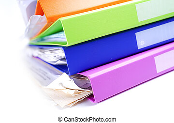 Stack of files on white background.
