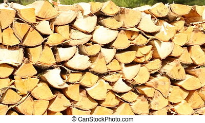 Stack of firewood in the yard