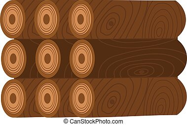 Stack of nine wooden logs firewood lumber tree cut flat illustration.