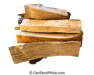 stack of firewood logs for the stove isolated on white