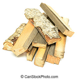 firewood - stack of firewood on white