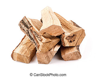 stack of firewood isolated on white background