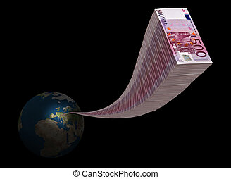 Stack of five hundred euro arriving in space