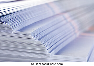 stack of flyers  - stack of flyers, selective focus