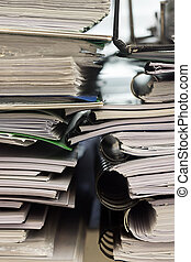 Stack of folders with documents