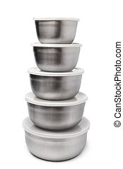 Stack of food metallic containers