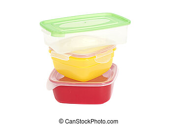 Stack of food plastic containers isolated on white
