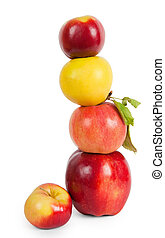 stack of four apples, isolated on white background