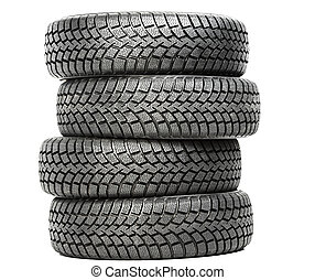 Stack of four car wheel winter tires isolated - Stack of ...