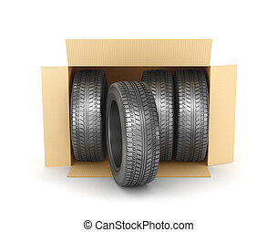 Stack of four new wheels in an open cardboard box isolated on white background