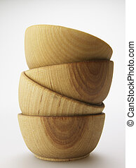 Stack of Four Wooden Bowls