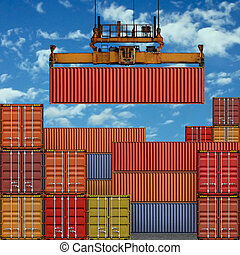 Freight Containers - Stack of Freight Containers at the ...