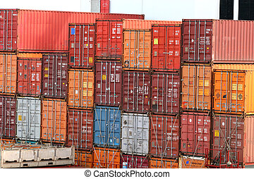 Stack of Freight - Stack of colorful freight containers on a...