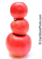 Stack of fresh apples on white background