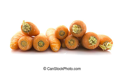 Stack of fresh organic carrots on white background