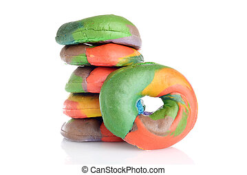 stack of fresh rainbow bagels