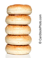 stack of fresh sesame seed bagels - Isolated stack of fresh...