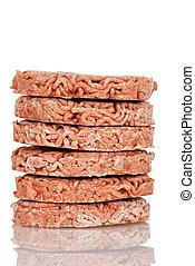 Stack of frozen hamburgers