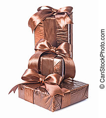 stack of gift boxes isolated