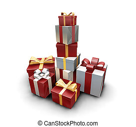 Stack of gifts - 3D render of a stack of wrapped gifts