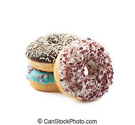 Stack of glazed donuts isolated