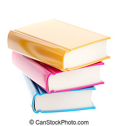 Stack of glossy colorful books
