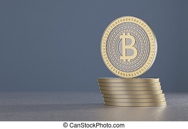 Stack of gold and silver bitcoins as example for crypto-...