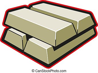 Stack of gold bars icon vector illustration