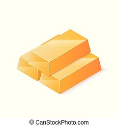 Stack of gold bars. Isometric vector illustration