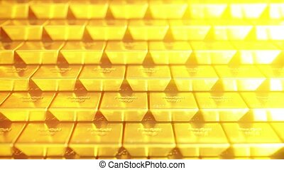 Stack of gold bars or bullions. Loopable 3D animation -...