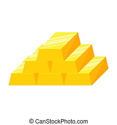 Stack of gold bars or ingot. Vector illustration isolated on...