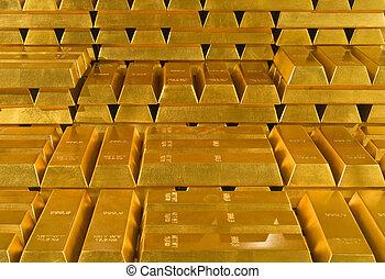 Stack of gold bullions