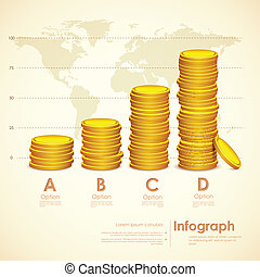 Stack of Gold Coin - illustration of stack ok gold coin on...