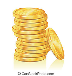 Stack of Gold Coins - Concept Success in Business with Stack...