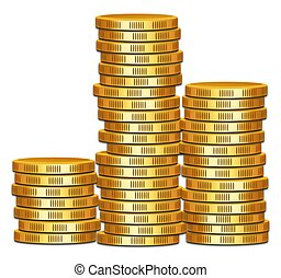 Illustration of three stacks of gold coins, isolated against a white background. Concept for business, money, saving, investing, banking and finance.