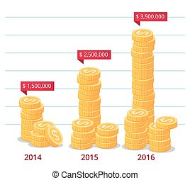 stack of gold coins with annotation vector illustration for business infographic